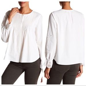 Joie front pleat long sleeve eyelet blouse M white